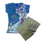 FROZEN pyjama courts t-shirt+short bleu et gris coton de fille