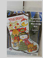"""COUNTED CROSS STITCH CHRISTMAS STOCKING KIT UNOPENED * 17"""" MAKING NEW FRIENDS"""