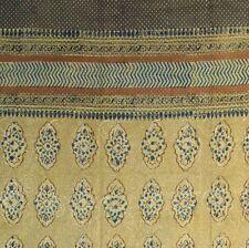 Cotton Kensington Hand Block Print Curtain Drape Door Panel 46x88 Gold Tan