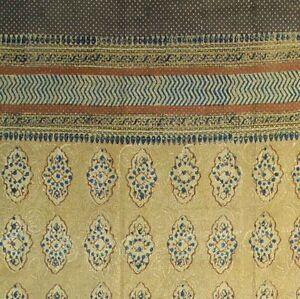 Cotton Hand Block Print Curtain Drape Floral Geometric Door Panel 46x88 Gold Tan