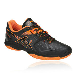 Asics Mens Gel-Blast FF 7 Court Shoes Black Orange Sports Squash Trainers
