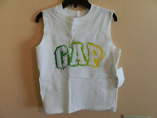 "NWT baby gap boy sleeveless white t-shirt w/""GAP"" in green-yellow fade; size 2T"