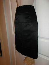 Ronni Nicole Black Stretch Skirt Horizontal Fabric Pencil Side Zip Lined 6 ECU