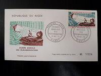 NIGER  AERIEN 128   PREMIER JOUR FDC    TELECOM UIT      100F     1970