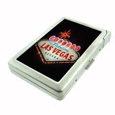 Silver Cigarette Case with Lighter Las Vegas Design 01 City Lights Casino Poker