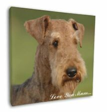 """Airedale Terrier Dog 'Love You Mum' 12""""x12"""" Wall Art Canvas Decor, AD-AD1lym-C12"""