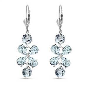 Aquamarine Flower Earrings In 14K White Gold (5.32 ct. tw