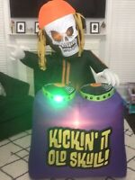 Gemmy Airblown Inflatable Animated w/Soundbox Kickin' It Old Skull Prototype 5Ft