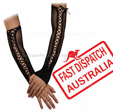 Ladies Punk Goth 20s 80s Fishnet Sexy Ribbon Party Sexy Cuff Gloves Arm Covers
