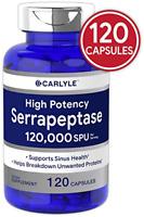 Serrapeptase 120000 SPU | 120 Capsules | Gluten Free Enzyme | by Carlyle
