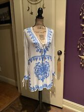 """Pure White Gauze Cerulean Blue Embroidery Tunic Top Cover Up M 38"""" Like J Marie"""