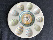 """World Bazaars Easter Bunny Deviled Egg Serving Plate Hand Painted 10.25"""""""