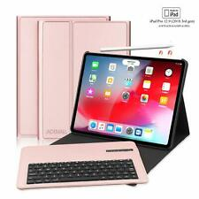 """For iPad pro 12.9"""" 3rd gen 2018 Bluetooth Keyboard Case PU Leather Smart Cover"""