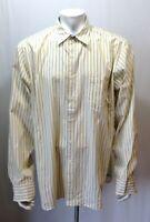 J. Crew Men's Size XL Yellow Blue Striped Long Sleeve Button Up Cotton Shirt