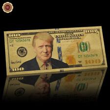 WR Neues US-Präsident Donald Trump Color Gold Banknote 100 Dollar Geld Geschenk