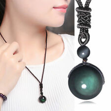 Natural Stone Obsidian Rainbow Eye Beads Ball Pendant Transfer Lucky Love