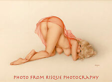 "Nude Woman Peach Negligee 8.5x11"" Photo Print Alberto Vargas Naked Female Pin-up"