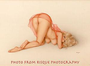 "Nude Woman Peach Negligee 8.5x11"" Photo Print Alberto Vargas Naked Female Pin-up"