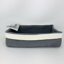 Toilet Tank Tray Bin Hand Knit Bathroom Storage InterDesign Gray White New