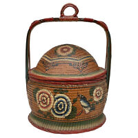 Vintage Chinese Woven Rattan Painted Betrothal Wedding Basket