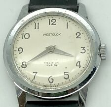 Vintage Westclox Wristwatch Precision Jeweled, Men's Watch Original Leather Band