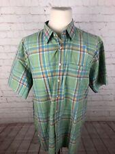 L.L. Bean Men's Green Plaid Cotton Short Sleeve Dress Shirt 18-18.5 $98