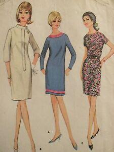 Amazing VTG 67 McCALLS 8875 Neckline Variation Dress~3 Versions PATTERN 16/36B
