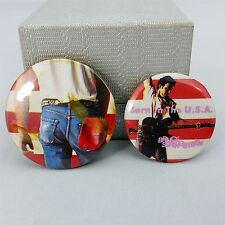 """Vintage Metal Pin Button Bruce Springsteen Born in the USA Set Two 1.5"""" & 1.25"""""""