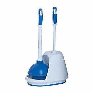 Mr Clean 440436 Combo White/Blue Plunger and Bowl Brush Caddy Set Toilet Turb...