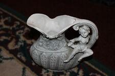 Vintage Victorian Pottery Pitcher W/Cherub Angel Handle-Raised Details-Lqqk