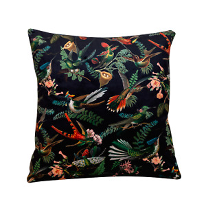 "Luxury Velvet Botanical Cushion. Birds, Leaves, and Flowers. 17x17"" Square."