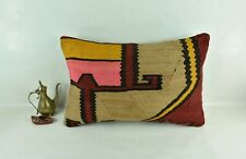 Kilim Pillow Cover 16x24 Traditional Oushak Rug Handmade Lumbar Cushion 3120
