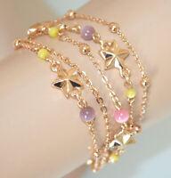 BRACELET ETOILE femme multi-brins or chaîne charms lilas rose jaune pierres N69