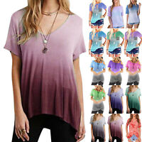 Womens Casual Summer Gradient Tops Short Sleeve Lady T-Shirt Blouse Tee Shirts