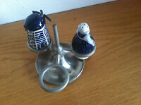 Delft Holland Revolving Condiment Server Elesva  Pewter Rack Cute but AS IS