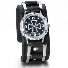 Cool Wide Black Leather Cuff Gothic Cross Quartz Punk Sport Men's Wrist Watch