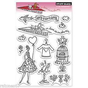 New Penny Black LOVE IS IN THE AIR Clear Stamps Valentine's Hearts Girl Puppy
