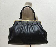 BCBG Max Azria BLACK LEATHER Soft Satchel MEDICINE BAG Gold Frame Purse GREAT