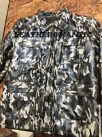 Men's Real leather Jacket Camouflage Military Print Size XS 5XL