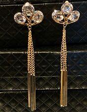14k Gold Plated Long Tassel Earrings made w/ Swarovski Crystal Stone Gorgeous