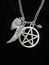 Collar de plata celta pentáculo Búho Ala gótico Wicca Pagano Colgante Fantasía