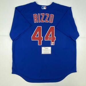 Autographed/Signed ANTHONY RIZZO Chicago Cubs Blue Authentic Jersey Fanatics COA
