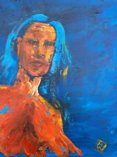 "20"" Abstract Portrait Thick Paint of Young Woman Inner Beautiful Bold Colors"