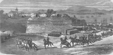 AUSTRIA. Austrian Artillery leaving Peschiera, antique print, 1866