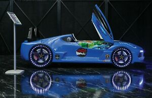 Child /Kids Blue Race Car bed Leather seat with Music LED lights Scissor door