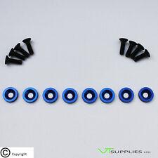 Plain Blue M6 Anodized Aluminium Fender Washer Kit for Engine - Black Bolts