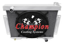 """3 Row Perf Champion Radiator W/ 16"""" Fan for 1957 58 1959 Ford Victoria L6 Engine"""