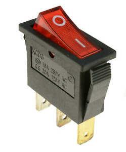 Rocker Switch Slim 16A 250V 20A125V RED ON-OFF Double Pole 3 Pin ILLUMINATED