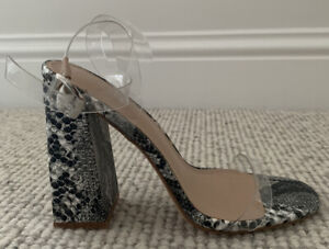 Public Desire Snake Skin Heels With Clear Perspex Straps UK Size 6