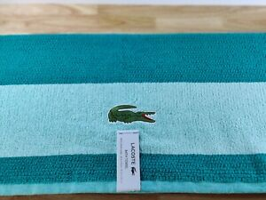 """Lacoste Big Crocodile🐊 Logo Bath Towels 30x52"""" Teal Cotton New W/ Tags Summer🌞"""